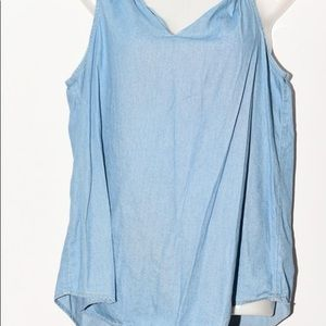 Old navy blouse tank top blue denim